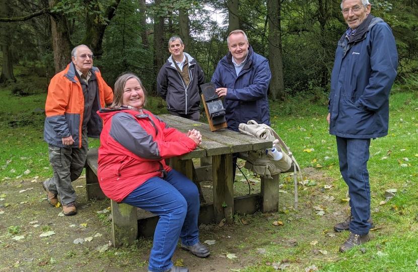 Species Champion visits volunteers working to protect Red Squirrels at Denbighshire Forest